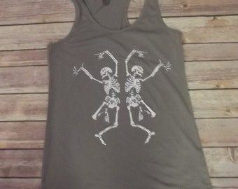 Halloween Tank Top Dancing Skeleton Bohemian Boho Screen Print All size and Color 100% Cotton