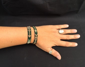 The Dooley: CUSTOM home made green, gold and copper arrow loom beaded wrap bracelet