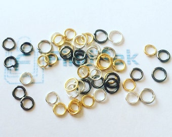 Bulk 50 Mixed Jump Rings 4mm 5 Colours | Mixed Rings | Jump Rings | Split Rings | Silver Jump Rings | Gold Jump Rings | Mixed Colours |