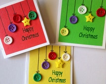 3 Mini Christmas Cards, Christmas Cards with Buttons, Happy Christmas Cards, Christmas Cards Set Lot Pack