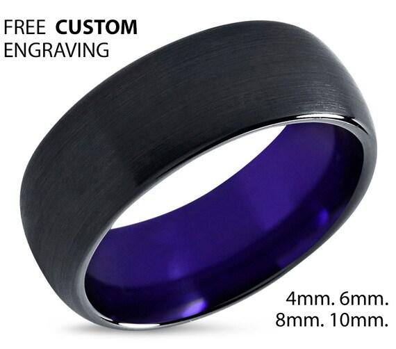 Tungsten Ring Mens Black Purple Wedding Band By BellyssaJewelry