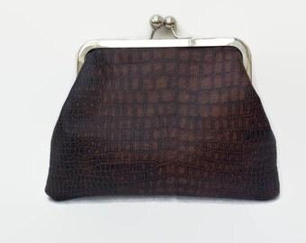 Clutch bag, Evening bag, Clutch purse, Make up bag, Makeup bag, Cosmetic bag, Faux snakeskin bag,