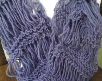 """Lovely Lilac Purple """"Drop-Stitch"""" Knit Scarf"""