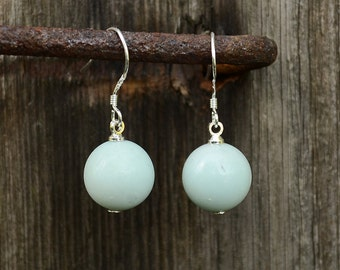 Amazonite earrings, Amazonite silver earrings, French hook amazonite earrings, Silver earrings amazonite, Amazonite drop earrings.