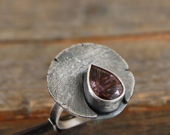 SALE !  15 % off  -strawberry quartz ring, quartz ring, oxidized silver, raw silver, rough silver, silver ring