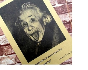 2015 Imagination Is More Important Than Knowledge - Albert Einstein Old Posters Inspirational 51 * 36cm Vintage Greeting Card