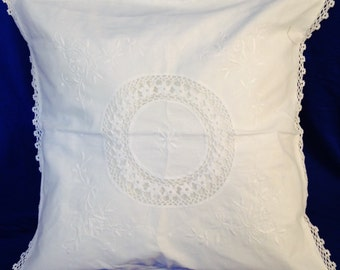 White Embroidery Pillow 100% Cotton 17x17 inches