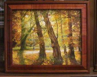 Autumn in the park. Oil painting. Canvas. Original.