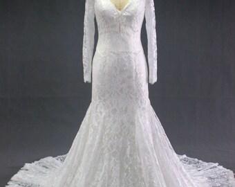 Long Sleeve modest lace zipper back closure bridal mermaid wedding dress the modest bride