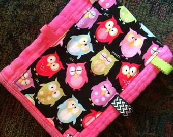 Pink, owl burp cloth