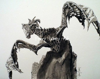 Durnehviir from The Elder Scrolls V Skyrim Dragon (Reproduced Print of Original Artwork, Chromogenic Print or C-Print)