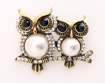 Owl Brooch, Owl Broach, Unique Owls, Pearl Owl Jewelry, Bird Lover Brooches, DIY Craft Project Jewelry Embellishment