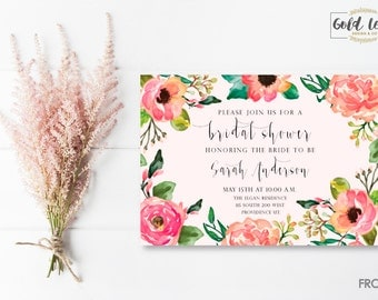 Bridal Shower Invite // Pink Floral