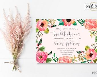 Bridal Shower Invite // Pink Floral
