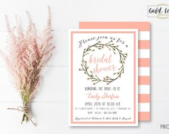 Bridal Shower Invite // Pink Floral & Stripe