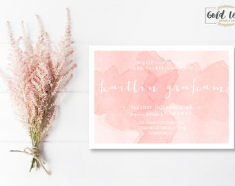 Bridal Shower Invite // Pink Watercolor