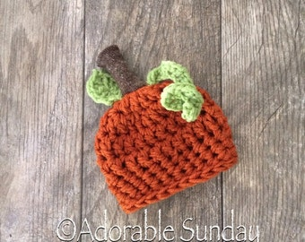 Newborn Infant Preemie Pumpkin Hat, Girls or Boys Photo Props Crochet Knit Unique Halloween, Autumn RTS Ready To Ship