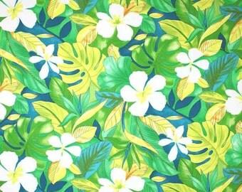 Fabric - Aloha Green Yellow Cotton Poly blend Tropical Beach Coastal Hawaii Island Polynesian Summer
