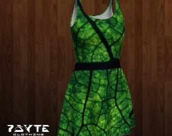 festival dress, Reversable dress, flare dress, green leaf dress, Hippie dress, Music festival clothing, Skate dress, Psychedelic, nature
