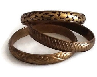 Vintage brass bangles, hollow and pierced brass bangles, stacking bangle set, antique bronze colour