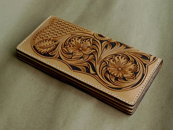 Pdf pattern long wallet leathercraft picture for carving