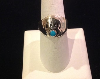 Sterling Silver Native American Bear Claw Design Ring with Turquoise...Signed...Size 9