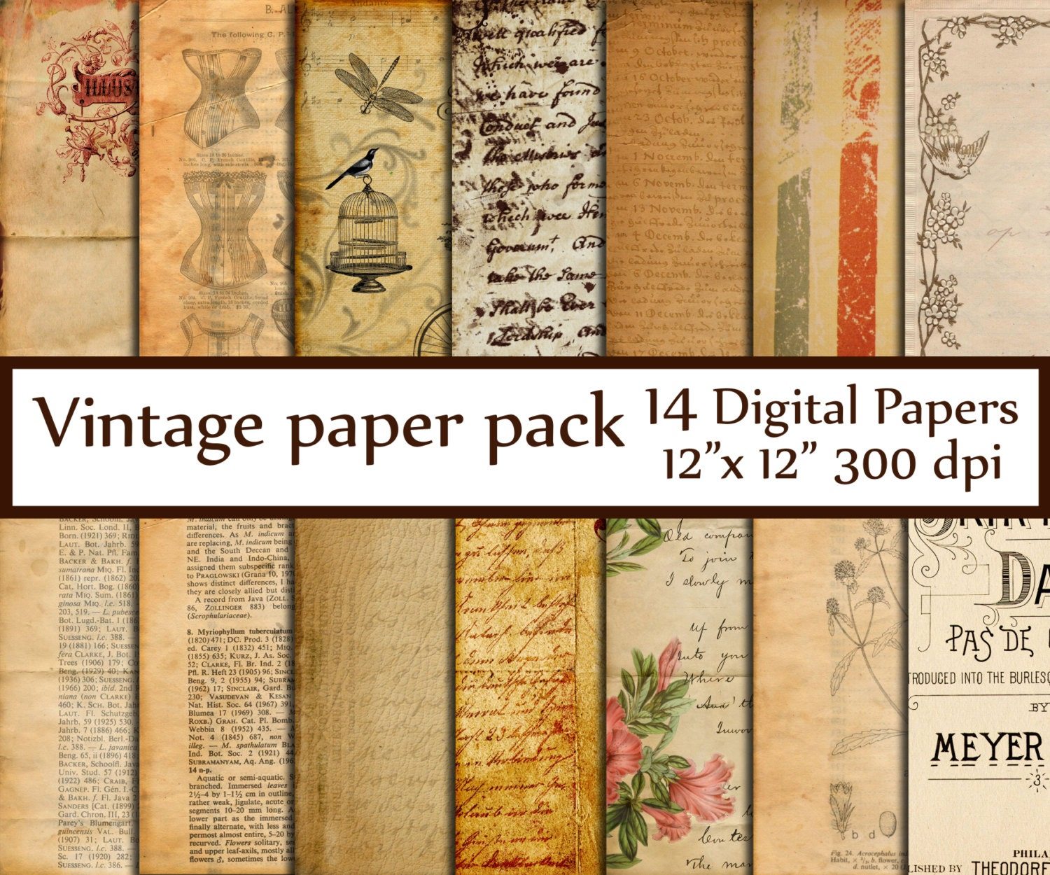 Antique Paper: Antique Digital Papers: VINTAGE PAPER Ephemera By ChiliPapers