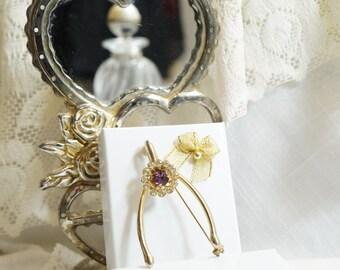 Coro/Birthstone Jewelry/Wishbone Brooch/Coro Jewelry/Amethyst Brooch/February Birthstone Brooch/Coro Wishbone Brooch/Vintage Brooch/Coro