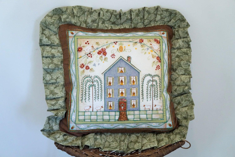 Old Fashion Throw Pillow Cover Ruffled Pillow Folk Art
