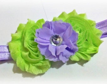 Mint and Lavender Shabby Flower Headband for NEWBORN