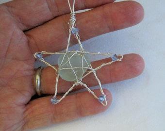 Genuine sea glass wire wrapped Christmas star ornament (313)