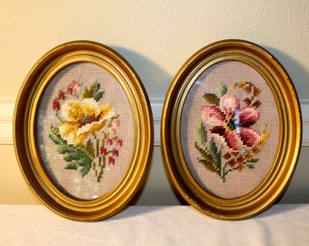 Vintage floral needlepoint framed art gold oval frame romantic colors