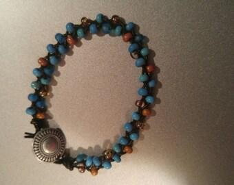 Blue & Gold Braided Bead Bracelet