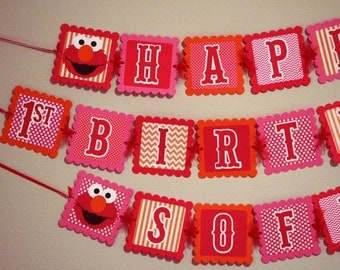 Girl Elmo Birthday Banner With Personalized Name - Elmo Party