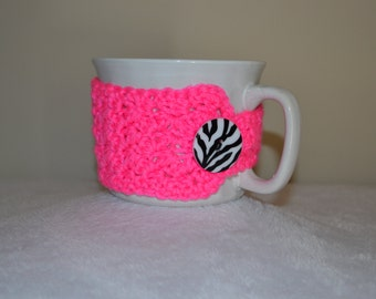 Neon Pink with Zebra Button Coffee Cup Wrap