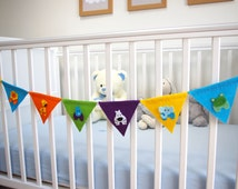 Nursery Bunting, Felt Animal Decor, Kids Jungle Room, Baby Shower Party Bunting, Child Bedroom, Flag Garland, Colourful Fabric Wall Hanging