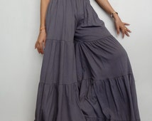 Women's Bell bottom Ruffle Long Pants. Unique Gypsy Stylish, Gray Cotton Blend  (Size M ).