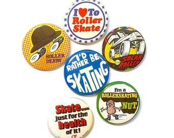 Retro Roller Skate Pinback Buttons, Set of 6