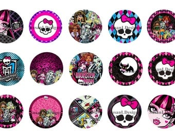 "Monster High - 15 Bottle Cap Images 4X6 Digital INSTANT DOWNLOAD 1"" Circle Jewelry"