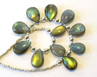 """Dainty Labradorite Necklace, Blue Green Flash Labradorite Drops with Hill Tribe Silver and 925 Sterling Silver, Handmade 16"""" Beaded Necklace"""