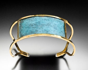 Red Brass Cuff Bracelet with  Verdigris Patina