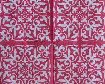 Hot Magenta Tile Paper Decoupage Napkin