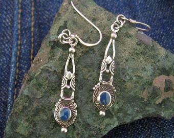 Sterling silver blue drop earrings