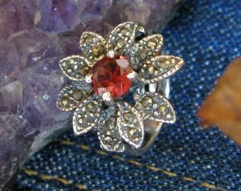 Silver Garnet & Marcasite Flower Ring
