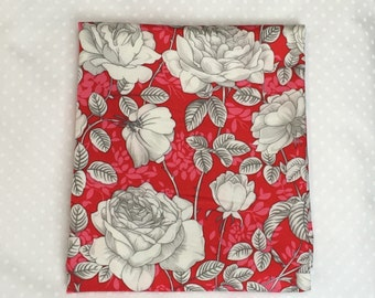 Red roses cotton fabric