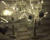 White glitter led Christmas trees with decorations/ winter wonderland