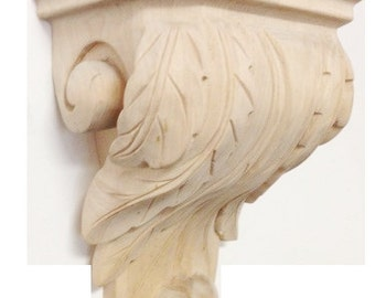 Contemporary Acanthus Leaf Maple Wood Corbel Accessory Bracket