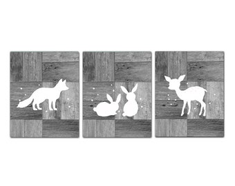 White Gray nursery art set, animal silhouette prints, woodland nursery set, rustic nursery, bunny silhouette, fox silhouette, set of 3
