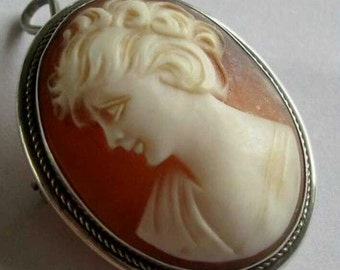 vintage silver marked 800 shell cameo brooch pendant
