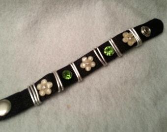 Soft leather snap cuff bracelet